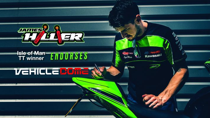 James Hillier in Green and Black Shirt signs Kawasaki 1000 for Vehicle Dome